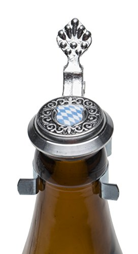 Schnabel-Schmuck Flaschenverschluß, Silber, blau-Weiss, 5 x 5 cm