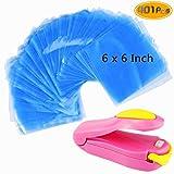 Kuqqi 400 pcs 6 x 6 inch Shrink Wrap Bags, Bonus Mini Heat Sealer, Bags for Handmade Soaps, Bath Bombs and DIY Crafts