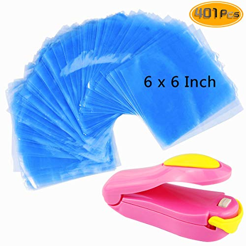 Kuqqi 400 pcs 6 x 6 inch Shrink Wrap Bags, Bonus Mini Heat Sealer, Bags for Handmade Soaps, Bath Bombs and DIY Crafts