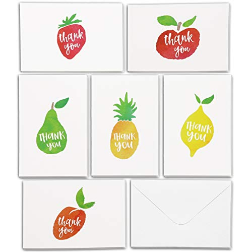 Best Paper Greetings 36 Assorted Pack Thank You Note Cards Bulk Box Set - Blank On The Inside - 6 Aquarel Fruit Designs - Inclusief 36 Wenskaarten en Enveloppen - 4 X 6 Inches