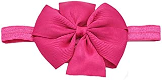 ADS Grosgrain Ribbon Boutique Elastic Bowknot/Hair Bands for Kids and Girls (Dark Pink)