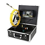 Ennio Pipe Inspection Video Camera, 20M/30M IP68 Waterproof Meter Counter Drain Pipe Sewer Inspection Camera System 9' LCD DVR 1000TVL Camera with 6W LED Lights 8GB SD Card