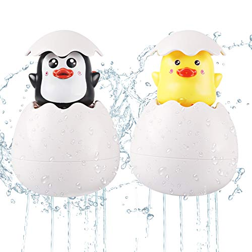 M AOMEIQI 2 Pack Baby Bath Toys Hidden Duck and Penguin Squirt Egg Water Shower Tub Floating Toy Plastic Easter Eggs for Toddlers