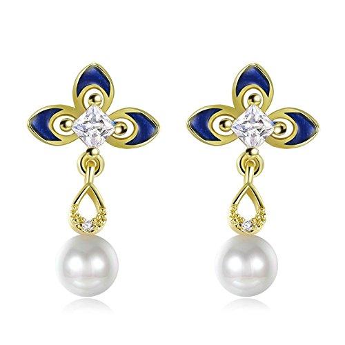 Daesar Orecchini Da Donna In Acciaio Inossidabile Con perla Orecchini a Fiore Cubico In Oro Zieconia per Matrimonio