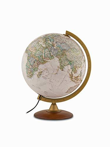 Tecnodidattica – Globo esecutivo Nazionale Geografico | Illuminato | Base in legno di faggio, acrilico meridiano | Mappa politica e fisica da National Geographic | Testo in Italiano | Diametro 30cm