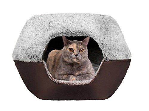 UMALL Cuccia per gatti, calda e morbida a forma di igloo, con cuscino, adatta per l'uso all'interno, base antiscivolo