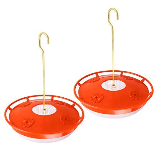 DOITOOL 2 st hängande kolibri matare för utomhus med 4 utfodringsportar, hängande fågelmatare för utomhus (röd, 20 x 20 x 1 cm)