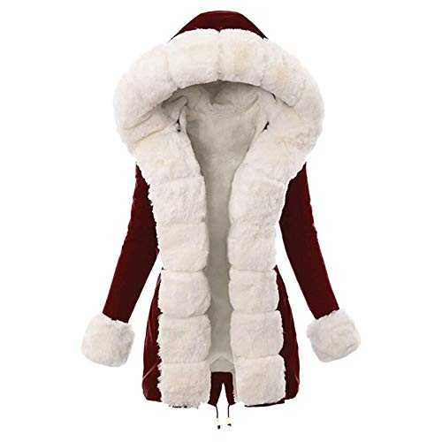 Selotrot Women Winter Hooded Coat, Ladies Warm Thick Detachable White Plush Collar Coat Hood Parka Long Jacket