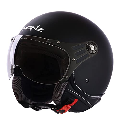 Casque de Moto Jet Vintage con visiera,ECE Homologado Casco de Moto Retro Jet Casco para Temporadas Universal Adult Unisexs,por Scooter Ciclomotor Bicicleta Half-Helmet F,M=54~55cm
