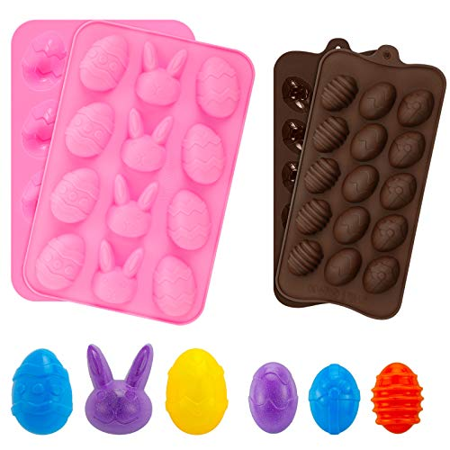 4 Pieces Easter Egg and Bunny Silicone Molds Easter Candy Chocolate Molds Egg Shape DIY Molds for Ice Cube Soap Jelly French Dessert Cake Decoration
