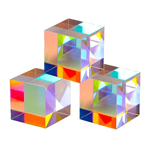 X-Cube RGB Prism Dispersion Prism,Glass Cube Prism,for Physics and Decoration 3pcs (20 MM)