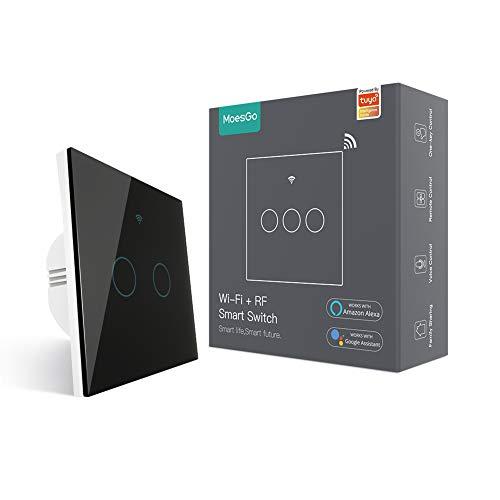MoesGo interruttore smart WiFi RF433 touch da parete, non richiede neutro, 1 via interruttore intelligente compatibile con Smart Life/Tuya, lavora con Alexa e Google Home Nero 2 Gang