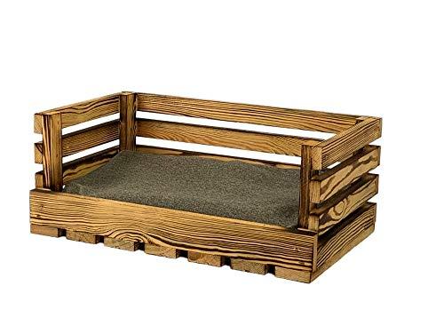 animal-design Haustiersofa aus Holz geflammt, mit kuscheligem Kissen, für Katzen und kleine Hunde, Katzenbett Hundesofa Katzensofa
