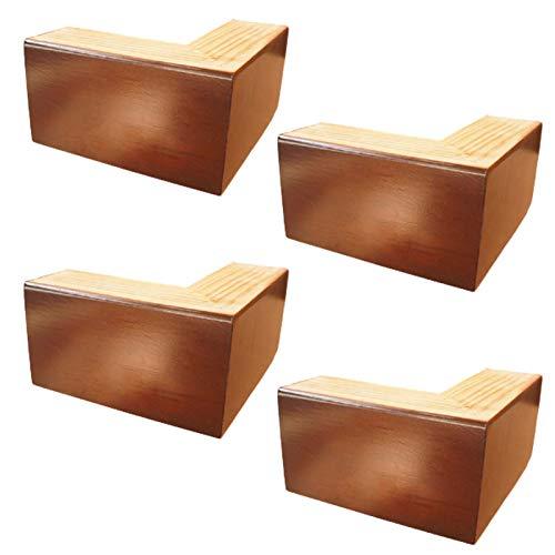 4 Piezas Piernas de Soporte de Muebles de Madera,Pies de Gabinete Triangulares,Patas de Cama de Madera Maciza,Patas de Mueble de TV,Con Tornillos(Red-brown10cm(3.9in))