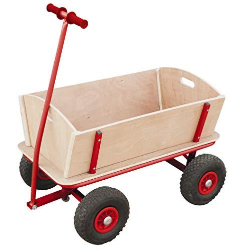 Izzy Bollerwagen Holz Kinder Luftreifen 100kg für alle Gelände geeignet (Holzbollerwagen mit pannensicheren PU-Reifen)