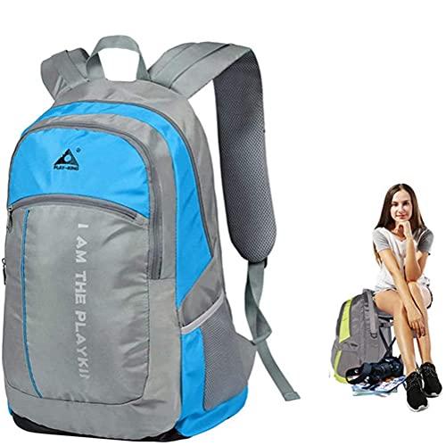 Mochila Plegable de Tela Oxford para Silla Mochilas de Viaje de montaña de Gran Capacidad para Acampar al Aire Libre - Mochila de Taburete Invisible Alpino de 40L para Deportes de Campo (Blue)