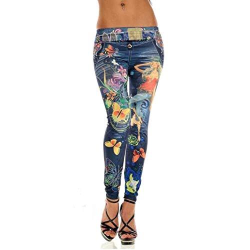 Pantaloni da Donna Summer Lhwy Skinny Blue Jeans da Grazioso Donna Leggings in Denim Elastici Pantaloni Jeggings Pantaloni Lunghi Vintage retrò Vita Elastica Stlie (Color : Blau, Size : One Size)