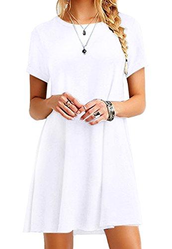 OMZIN Damen Strandkleid Tunika Sommerkleid Rund Ausschnitt Kleid Lose T-Shirt Kleid Minikleid,Weiß,M