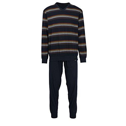 Götzburg Herren Pyjama, Langarm, Baumwolle, Single Jersey, blau, gestreift mit Bündchen 48