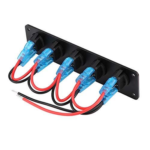 Preisvergleich Produktbild 12-24V 5 Gang Rocker Switch Panel Wippschalter Panel Auto Marine LED Kippschalter Panel