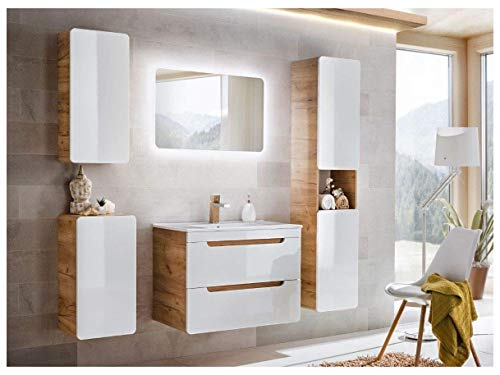 naka24 Badmöbel Set ''Aruba-Weiss/Eiche 80 Badmöbel Set mit Waschbecken Badmöbelset LED (komplettes Badmöbel Set)