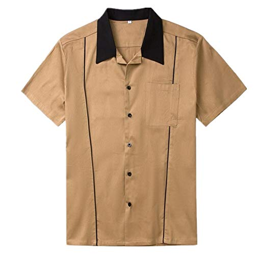 U/A Herren Hemd, Baumwolle, Retro, Bowling-Shirt, kurz, Grau / Braun / Grün Gr. L,...