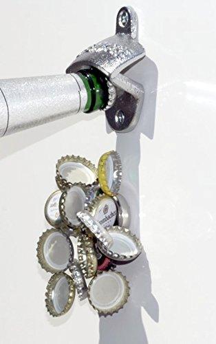 Wand-Flaschenöffner WALLY+NEODYMMAGNET/Wandflaschenöffner/Flaschen-Öffner mit Fang-Magnet, klein/Magnetfalle für ca. 15 Kronkorken