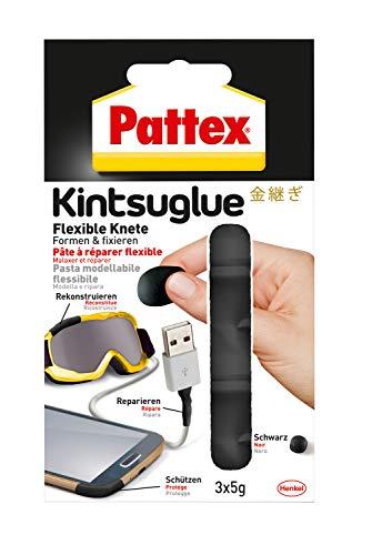Pattex Kintsuglue Flexible Knete schwarz / Leicht formbare Klebepaste zum Reparieren, Rekonstrukieren, Schützen & Verbessern von fast allen Gegenständen / 3 x 5g