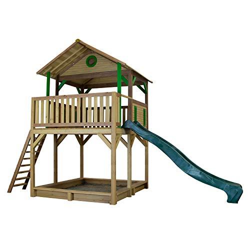 AXI Woody Speeltoren Bruin/groen - FSC - Platform 148 cm - Zandbak incl. hoes - Groene glijbaan