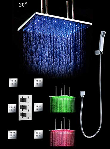 Read About Cascada Luxury Bathroom Shower Set with 20 Water Power LED Shower Head Rainfall with The...