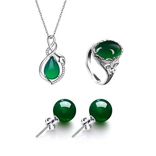 AIUIN 1X Conjunto Joyas Colgante Jade Verde Collar/Anillos/Colgante