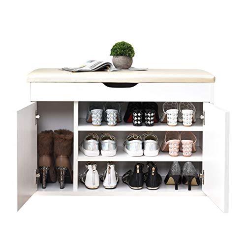 Cambio de zapatos de almacenamiento oculto Botas Organizando Banco de almacenamiento Zapato Rack Entryway con compartimiento oculto bajo asiento zapatos de 3 niveles Banco adecuado para usar zapatos e