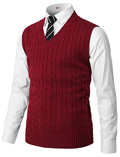 H2H Mens Casual Slim Fit Pullover Sweaters Knitted Vest RED US L/Asia XL (CMOV052)