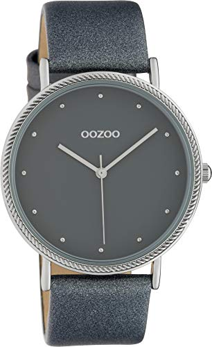 Oozoo Damenuhr Shiny mit Lederband 40 MM Blau/Blau C10418