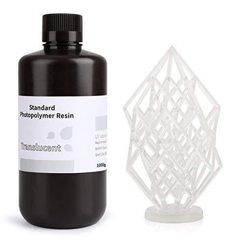 ELEGOO LCD UV 405nm Rapid 3D Resin for LCD 3D Printer 1000g Photopolymer Resin Translucent