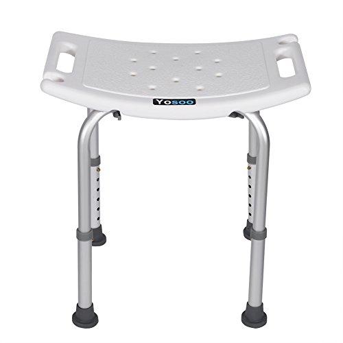 Taburete para ducha - Taburete rectangular para ducha Asiento auxiliar para baño Silla sin respaldo Altura ajustable
