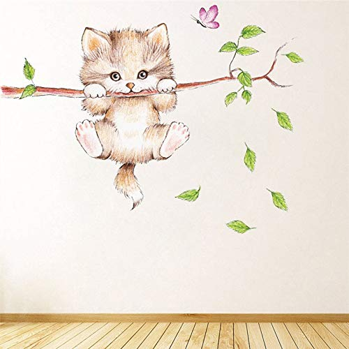 Pegatinas de Pared Pegatinas de pared rama de un árbol mariposa del gato lindo for niños de la pared habitaciones la decoración del hogar de la historieta animal Adhesivos de carteles bricolaje pvc ar