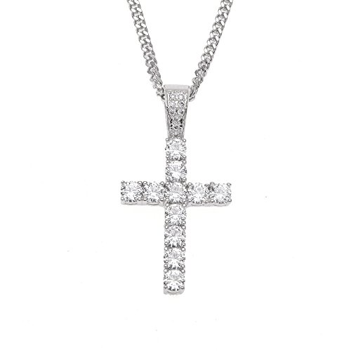 MCSAYS Hip Hop Jewelry Iced Out Bling Full Crystal Cross Pendant Golden Cuban Chain Religious Christian Necklace Fashion Accessories for Men/Women Gifts(Silver)