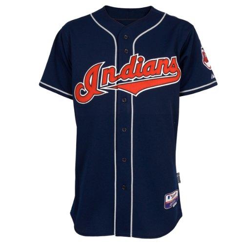 MLB Herren Cleveland Indians Sechs Knöpfe Cool Base Authentic Alternate Jersey (Marineblau, 40/Medium)