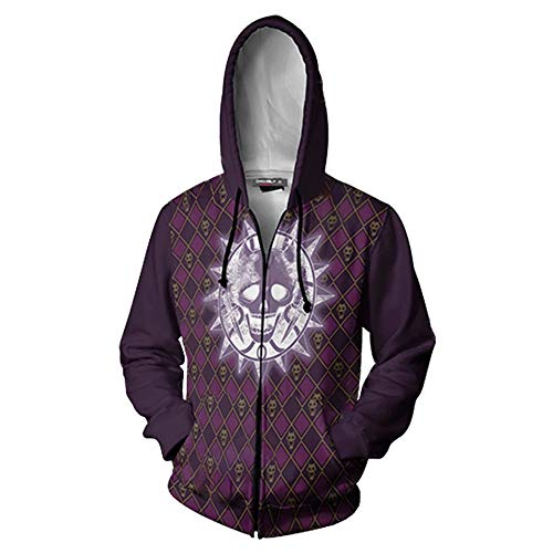 JoJo's Bizarre Adventure Anime Hoodie Kujo Jotaro Cosplay Zip Sweatshirt Jacket (Purple Skull, Large)