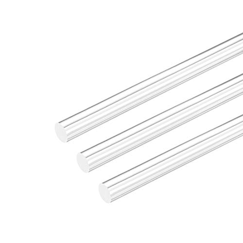 uxcell Acrylic Round Rod,3 8 inch Dia 10 inch Length,Transparent Clear Plastic Round Rod,Solid PMMA Bar 3pcs