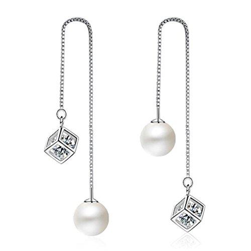 Summens Damen Ohrhänger Ohrringe Durchzieher 925 Sterling Silber Lang Hängend Quaste Glänzend Zauberwürfel Zirkonia Natürlich Perlen Hypoallergen Weihnachtsgeschenk