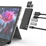 Dock Station for Surface Pro 7, Gigabit Ethernet RJ45 Port - 2 x USB 3.0 - 4K HDMI - USB Type-C(60W PD) - R/W SD/Micro SD Memory Multi Card Reader for Surface Pro 7