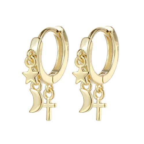 Nuevos accesorios de fiesta Regalos de joyería para mujer colgante de cruz geométrico de plata ajustable hebilla de oreja pendientes de estrella de la oreja de la luna pendientes (oro)
