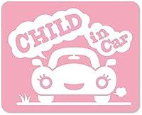 imoninn CHILD in car ステッカー 【マグネットタイプ】 No.25 クルマさん (ピンク色)