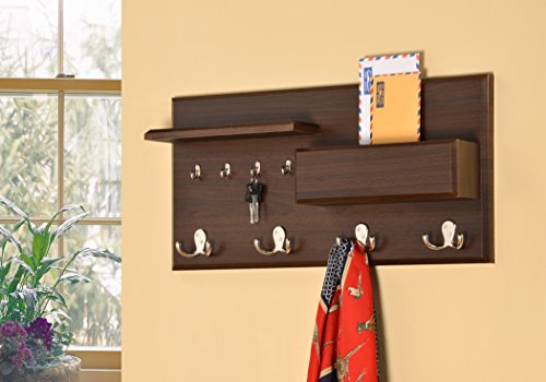 Entryway Coat Rack Mail Envelope Storage and Key Holder Hooks in Cappuccino Finish