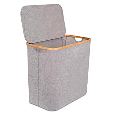 BirdRock Home Bamboo & Canvas Hamper | Single Laundry Basket with Lid | Foldable Hamper | Cut Out Handles