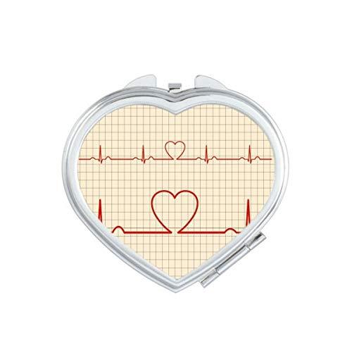 DIYthinker Coeur Électrocardiogramme Design Motif Coeur Compact Miroir de Maquillage Portable Mignon Cadeau Miroirs de Poche à la Main Multicolor