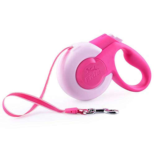 Fida Retractable Dog Leash, 10 ft Dog Walking Leash for X-Small & Small Dogs/Cats up to 26 lbs, Tangle Free, Pink