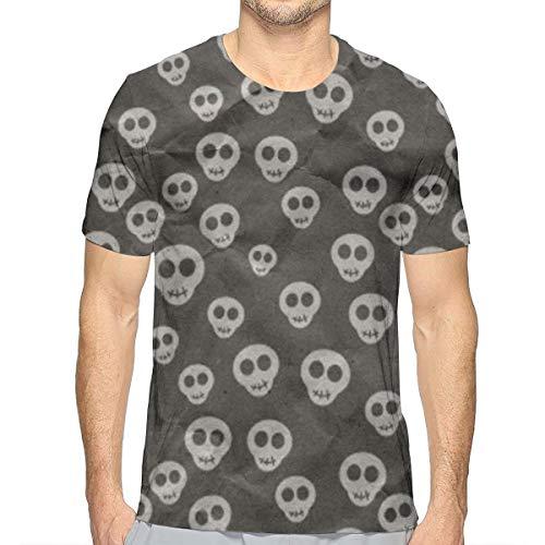 Heren Korte Mouw Effen Crew Neck T-Shirt Leuke Schedels Inpakpapier